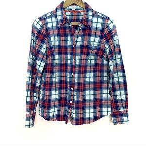 Boden Blue and Red Plaid Flannel Button Down Top